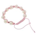 Ujërave të ëmbla Pearl Shamballa Bracelets, Pearl kulturuar ujërave të ëmbla, with Cord Wax, Shape Tjera, natyror, e bardhë, 10-11mm, :7.5Inç, 12Fillesat/Qese,  Qese