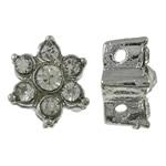 Beads Alloy zink Lule, ngjyrë platin praruar, me diamant i rremë & double-vrimë, asnjë, , nikel çojë \x26amp; kadmium falas, 10x10x5mm, : 1mm, 10PC/Qese,  Qese