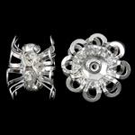 Beads bizhuteri bronzi, Tunxh, Lule, Ngjyra argjend praruar, me diamant i rremë, asnjë, , nikel çojë \x26amp; kadmium falas, 9x15mm, : 1mm, 10PC/Qese,  Qese