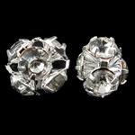 Bizhuteri tunxh Gjetja, Shape Tjera, Ngjyra argjend praruar, me diamant i rremë, asnjë, , nikel çojë \x26amp; kadmium falas, 7x6.5mm, 100PC/Qese,  Qese