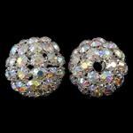 Alloy zink kapje magnetik, Tunxh, Round, Ngjyra argjend praruar, me diamant i rremë & i uritur, asnjë, , nikel çojë \x26amp; kadmium falas, 30x28mm, : 5mm, 2PC/Qese,  Qese