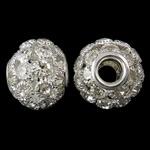 Beads bizhuteri Diamant i rremë, with Tunxh, Daulle, Ngjyra argjend praruar, core bronzi të dyfishtë pa karrem & i uritur, e bardhë, 20x16mm, : 6mm, 2PC/Qese,  Qese