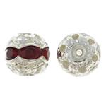Beads bizhuteri bronzi, Tunxh, Round, ngjyrë platin praruar, me diamant i rremë, asnjë, , nikel çojë \x26amp; kadmium falas, 8mm, : 1mm, 100PC/Qese,  Qese