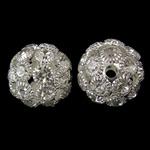 Beads bizhuteri Diamant i rremë, Tunxh, Daulle, Ngjyra argjend praruar, me diamant i rremë & i uritur, asnjë, , nikel çojë \x26amp; kadmium falas, 17x16mm, : 2.5mm, 10PC/Qese,  Qese