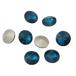Cabochons Crystal, Kristal, Round Flat, argjend praruar vërtetë, mbrapa Rivoli, Indicolite, 16x16x6mm, 144PC/Qese,  Qese