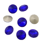 Cabochons Crystal, Kristal, Round Flat, argjend praruar vërtetë, mbrapa Rivoli, Dark Sapphire, 16x16x6mm, 144PC/Qese,  Qese
