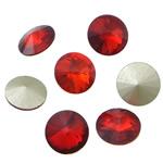 Cabochons Crystal, Kristal, Round Flat, argjend praruar vërtetë, mbrapa Rivoli, Siam, 16x16x6mm, 144PC/Qese,  Qese