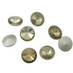 Cabochons Crystal, Kristal, Round Flat, argjend praruar vërtetë, mbrapa Rivoli, Lt Topaz, 16x16x6mm, 144PC/Qese,  Qese