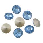 Cabochons Crystal, Kristal, Round Flat, argjend praruar vërtetë, mbrapa Rivoli, Lt Sapphire, 16x16x6mm, 144PC/Qese,  Qese
