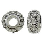 Diamant i rremë Beads European, Alloy zink, Rondelle, core argjendi i pastër vetme pa karrem & me diamant i rremë, qartë, 12.50x13.50x8mm, : 5mm, 10PC/Qese,  Qese
