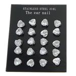 Një palë vathë Stainless Steel, 316L Stainless Steel, Zemër, asnjë, me zirconia kub, e bardhë, 3x3mm, 5Çanta/Shumë, 10Pairs/Bag,  Shumë