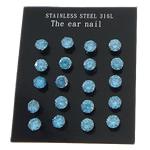 Një palë vathë Stainless Steel, 316L Stainless Steel, Shape Tjera, asnjë, me zirconia kub, blu, 4x4mm, 3Çanta/Shumë, 10Pairs/Bag,  Shumë