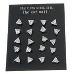 Një palë vathë Stainless Steel, 316L Stainless Steel, Trekëndësh, asnjë, me zirconia kub, e bardhë, 3x3mm, 5Çanta/Shumë, 10Pairs/Bag,  Shumë