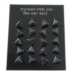Një palë vathë Stainless Steel, 316L Stainless Steel, Trekëndësh, asnjë, me zirconia kub, e zezë, 4x4mm, 5Çanta/Shumë, 10Pairs/Bag,  Shumë