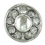 Pinch tunxh dorëzani, Petull e ëmbël në formë gjevreku, ngjyrë platin praruar, me diamant i rremë, asnjë, , nikel çojë \x26amp; kadmium falas, 10x10x8mm, 10PC/Qese,  Qese