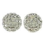 Beads bizhuteri Diamant i rremë, with Tunxh, Round Flat, Ngjyra argjend praruar, i uritur, e bardhë, 25.5mm, : 4.5mm, 2PC/Qese,  Qese
