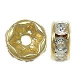 Beads Spacer tunxh, Petull e ëmbël në formë gjevreku, ngjyrë ari praruar, me diamant i rremë, asnjë, , nikel çojë \x26amp; kadmium falas, 6x3mm, : 1mm, 100PC/Qese,  Qese