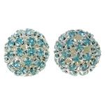 Strass Messing Perlen, mit Messing, rund, silberfarben plattiert, hohl, frei von Nickel, Blei & Kadmium, 17mm, Bohrung:ca. 2mm, 2PCs/Tasche, verkauft von Tasche