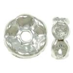 Beads Spacer tunxh, Petull e ëmbël në formë gjevreku, Ngjyra argjend praruar, me diamant i rremë, asnjë, , nikel çojë \x26amp; kadmium falas, 8x8x3.50mm, : 1mm, 100PC/Qese,  Qese
