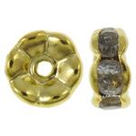 Beads Spacer tunxh, Petull e ëmbël në formë gjevreku, ngjyrë ari praruar, me diamant i rremë, asnjë, , nikel çojë \x26amp; kadmium falas, 7x3mm, : 1mm, 100PC/Qese,  Qese
