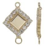 Connector tunxh Setting, Romb, ngjyrë ari praruar, me diamant i rremë & 1/1 loop, asnjë, , nikel çojë \x26amp; kadmium falas, 15x21x2mm, : 1.5-2mm, 10PC/Qese,  Qese