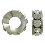Ndarësit diamant i rremë, Tunxh, Petull e ëmbël në formë gjevreku, ngjyrë platin praruar, me diamant i rremë, asnjë, , nikel çojë \x26amp; kadmium falas, 22x7mm, : 9.5mm, 10PC/Qese,  Qese
