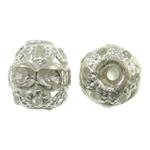 Beads bizhuteri bronzi, Tunxh, Daulle, Ngjyra argjend praruar, me diamant i rremë & i uritur, asnjë, , nikel çojë \x26amp; kadmium falas, 6x6.5mm, : 1.5mm, 100PC/Qese,  Qese