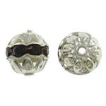 Beads bizhuteri bronzi, Tunxh, Daulle, Ngjyra argjend praruar, me diamant i rremë & i uritur, asnjë, , nikel çojë \x26amp; kadmium falas, 10x11mm, : 1mm, 100PC/Qese,  Qese