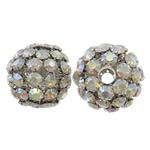 Beads bizhuteri Diamant i rremë, Tunxh, Daulle, ngjyrë platin praruar, me diamant i rremë & i uritur, asnjë, , nikel çojë \x26amp; kadmium falas, 36x36mm, : 7mm, 2PC/Qese,  Qese