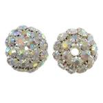 Beads bizhuteri Diamant i rremë, Tunxh, Daulle, Ngjyra argjend praruar, me diamant i rremë & i uritur, asnjë, , nikel çojë \x26amp; kadmium falas, 25x26mm, : 4mm, 2PC/Qese,  Qese