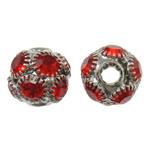 Beads bizhuteri Diamant i rremë, Tunxh, Daulle, ngjyrë platin praruar, me diamant i rremë & i uritur, asnjë, , nikel çojë \x26amp; kadmium falas, 11x10mm, : 3.5mm, 10PC/Qese,  Qese