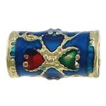Beads tunxh Tube, ngjyrë ari praruar, smalt, asnjë, , nikel çojë \x26amp; kadmium falas, 11x6mm, : 3.5mm, 250PC/Shumë,  Shumë