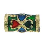 Beads tunxh Tube, Kolonë, ngjyrë ari praruar, smalt, asnjë, , nikel çojë \x26amp; kadmium falas, 11x6mm, : 3.5mm, 250PC/Shumë,  Shumë
