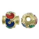Beads bizhuteri bronzi, Tunxh, Fanar, ngjyrë ari praruar, smalt, asnjë, , nikel çojë \x26amp; kadmium falas, 6.50x6mm, : 2mm, 250PC/Shumë,  Shumë
