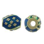 Beads bizhuteri bronzi, Tunxh, Oval, ngjyrë ari praruar, smalt, asnjë, , nikel çojë \x26amp; kadmium falas, 9x8.50mm, : 2.8mm, 250PC/Shumë,  Shumë