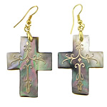 Black Shell Earring, Cross, with gold accent & brass hook, gold color plated, 56mm, 26x35x2mm, Sold by Pair