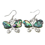 Rhinestone Brass Earring, Butterfly, with abalone cabochon, platinum color plated, 40mm, 31x23x3.5mm, Sold by Pair