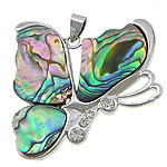 Brass Shell Pendants, Butterfly, brass setting with abalone & rhinestone, platinum color plated, 38x39x4mm, Hole:Approx 3x4MM, Sold by PC