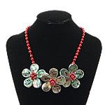 Necklaces Shell, Shell Guaskë, with Coral Natyrore, Lule, ngjyrë platin praruar, asnjë, asnjë, 43x43x15mm, 7mm, 16x16mm, :18Inç, 3Fillesat/Shumë,  Shumë