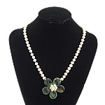Necklaces Shell, Shell Guaskë, with Pearl kulturuar ujërave të ëmbla, Lule, ngjyrë platin praruar, asnjë, asnjë, 52x52x16mm, 7mm, 14x14mm, :19Inç, 5Fillesat/Shumë,  Shumë