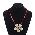 Necklaces Shell, White Shell, with Coral Natyrore, Lule, ngjyrë platin praruar, asnjë, asnjë, 65x65x18mm, 6mm, 14x14mm, :19Inç, 5Fillesat/Shumë,  Shumë