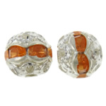 Beads Hollow tunxh, Round, Ngjyra argjend praruar, me diamant i rremë & i uritur, asnjë, , nikel çojë \x26amp; kadmium falas, 8mm, : 1mm, 100PC/Qese,  Qese