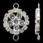 Connector tunxh Setting, Round Flat, Ngjyra argjend praruar, me diamant i rremë & 1/1 loop, asnjë, , nikel çojë \x26amp; kadmium falas, 15x22x3mm, : 2mm, 10PC/Qese,  Qese