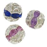 Beads bizhuteri bronzi, Tunxh, Round, Ngjyra argjend praruar, me diamant i rremë & i uritur, ngjyra të përziera, , nikel çojë \x26amp; kadmium falas, 8mm, : 1mm, 100PC/Qese,  Qese