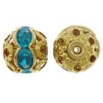 Tunxh, Round, ngjyrë ari praruar, me diamant i rremë & i uritur, asnjë, , nikel çojë \x26amp; kadmium falas, 8mm, : 1mm, 100PC/Qese,  Qese
