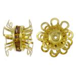 Beads bizhuteri bronzi, Tunxh, Lule, ngjyrë ari praruar, me diamant i rremë, asnjë, , nikel çojë \x26amp; kadmium falas, 15x10mm, : 0.5mm, 10PC/Qese,  Qese
