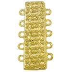 Zinklegierung Magnetverschluss, Rechteck, goldfarben plattiert, 5-litzig, frei von Nickel, Blei & Kadmium, 18x36.50x7.50mm, Bohrung:ca. 2mm, 10PCs/Tasche, verkauft von Tasche