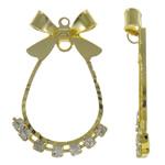 Tunxh, Lot, ngjyrë ari praruar, me diamant i rremë, asnjë, , nikel çojë \x26amp; kadmium falas, 20x31x3mm, : 1mm, 10PC/Qese,  Qese
