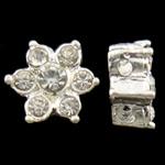 Beads Alloy zink Lule, Ngjyra argjend praruar, me diamant i rremë & double-vrimë, asnjë, , nikel çojë \x26amp; kadmium falas, 9x5.5mm, : 1.5mm, 10PC/Qese,  Qese