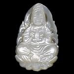 Pendants Natyrore White Shell, Guanyin, Gdhendur, asnjë, asnjë, 21x36x6mm, : 1mm, 10PC/Shumë,  Shumë